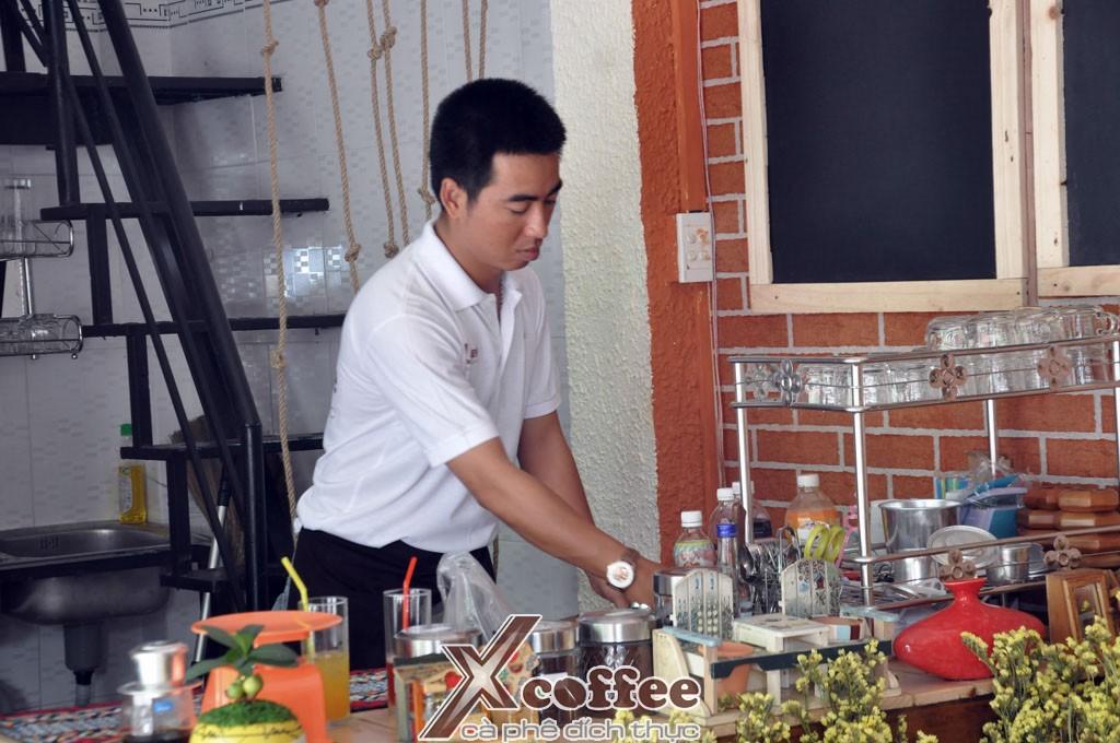 Cook on the restaurant kitchen preparing food